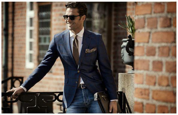 Casual Smart Blauwe Blazer  Spijkerbroek - Shop deze complete Look vanaf €389,99