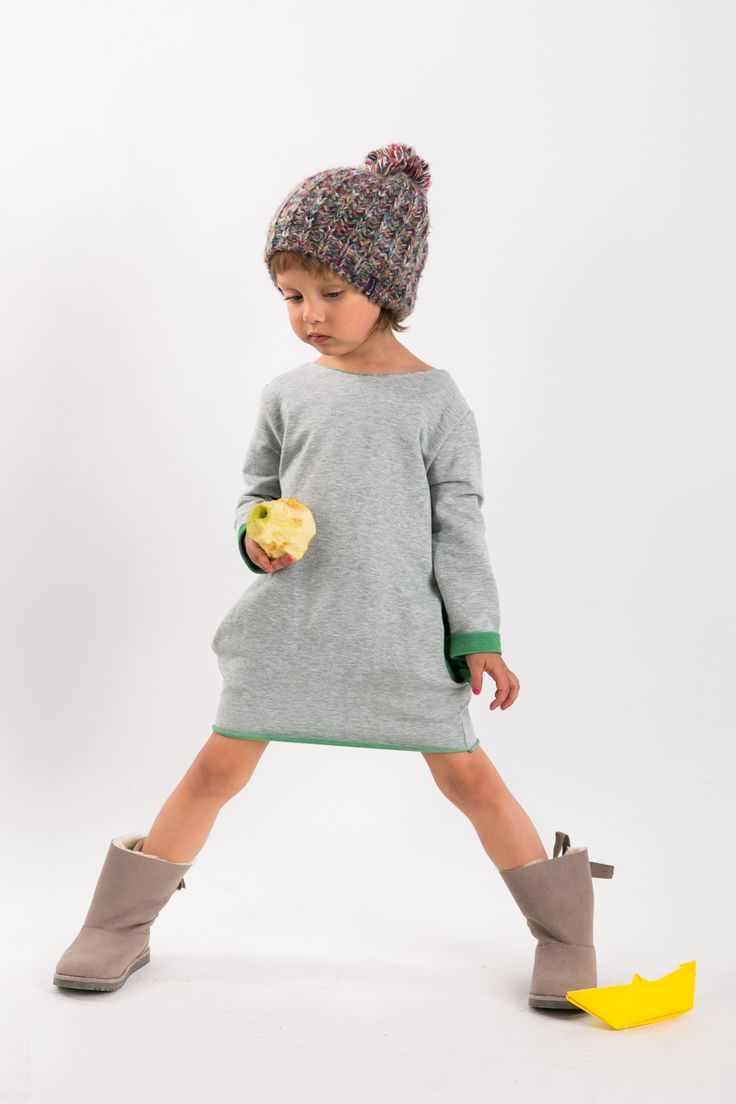 """The Same very comfortable sweatshirt dress with green minime long girl tunic called """"Two Face"""" www.thesame.eu"""