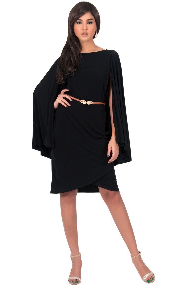 ONLY 69USD! SABRINA - Cape Sleeve Mini Dress with Thin Leather Belt: