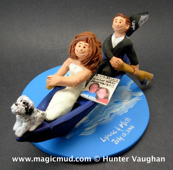 Canoe Wedding Cake Topper, Canoeing Wedding Cake Topper, Canoeists Wedding Cake Topper, Campers Wedding Cake Topper, Kayak Wedding CakeTopper Handmade to your specifications by magicmud.com of kiln fired clay. Perfect one of a kind personalized keepsake for a outdoorsman Wedding Cake Topper. $235 #magicmud 1 800 231 9814 www.magicmud.com