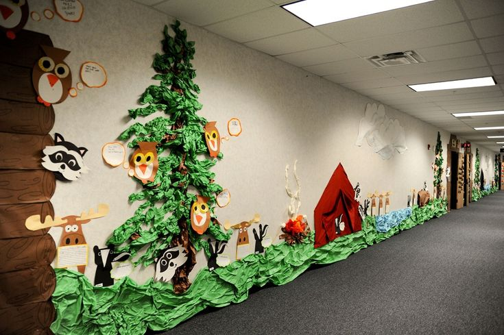 Camping Theme....AMAZING hall display! Save this one for spring!! (It's not all that far away!)