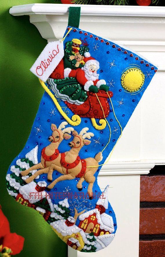 Over The Rooftops  Bucilla 18 Felt Christmas Stocking