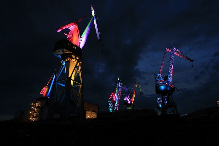 Illuminated Shipyard Cranes (Croatia)