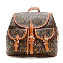 Michael Kors Jet Set Signature PVC Large Brown Backpacks