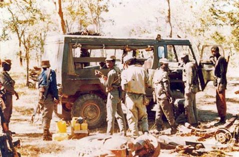 Photograph from a captured enemy camera shows SWAPO/PLAN fighters at Cassinga. The vehicle in the picture is a 1964 model military version Pinzgauer Steyr-Puch Haflinger troop carrier. Photo:  WE SERVED WITH PRIDE FB PAGE
