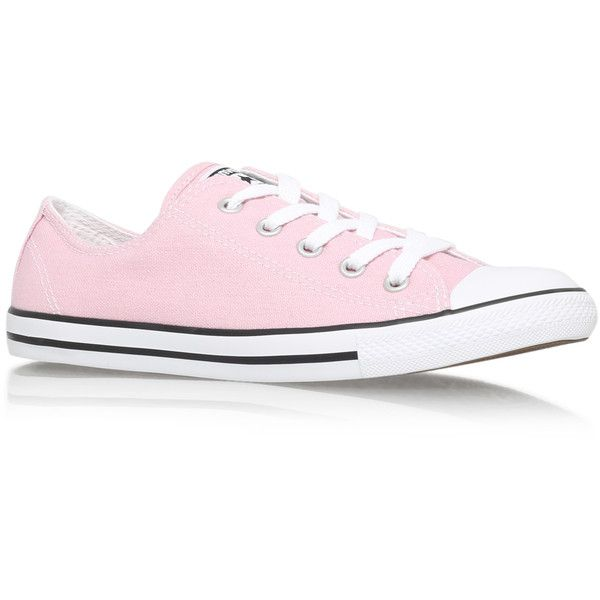 Ct Dainty Low Converse Pink ($71) ❤ liked on Polyvore featuring shoes, sneakers, converse, pink, low top canvas shoes, flat sneakers, pink shoes, flat shoes and low tops