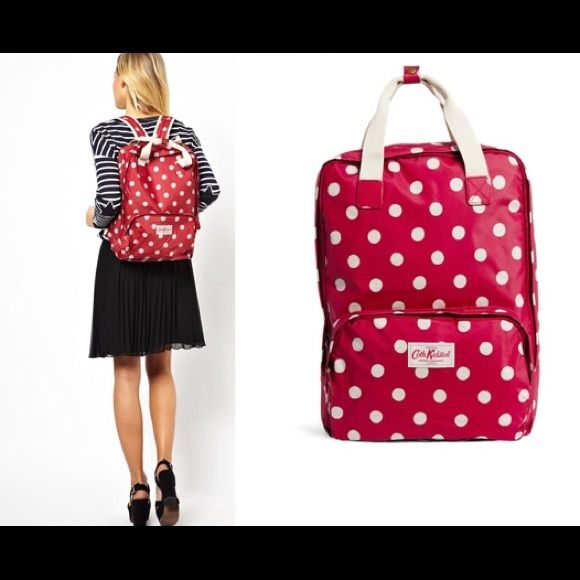 Genuine UK Cath Kidston Backpack Only use a couple time as diaper bag, but didn't work out! Cath Kidston Laptop Backpack Rucksack School College Bag Red Spot; grab handles and padded, adjustable strap zip fastening matt oilcloth 1 internal padded pocket for laptops up to 13″ 1 external zip pocket Size: 28 x 39 x 12 cm, strap: 80.5 cm  do not wash do not bleach do not iron do not tumble dry wipe clean only do not dry clean Bags Backpacks