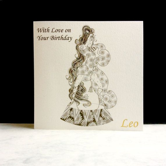 Birthday Card-Leo Sign by ImagePlusCards on Etsy
