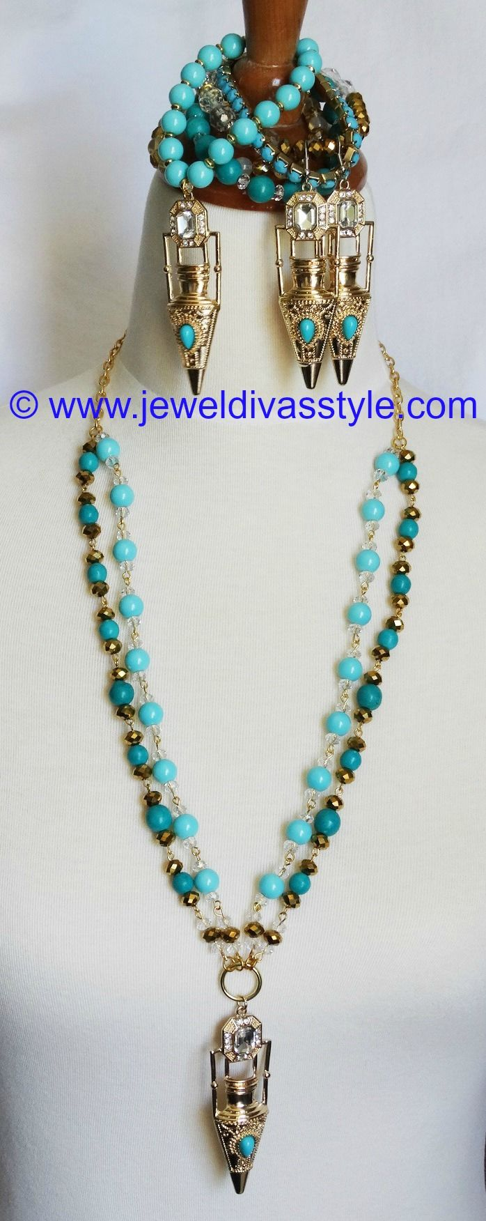 JDS - ARABIAN MEMOIRS JEWELLERY SET (JEWEL DIVAS necklace & bracelet stack) - http://jeweldivasstyle.com/designer-inspired-arabian-memoirs-set/