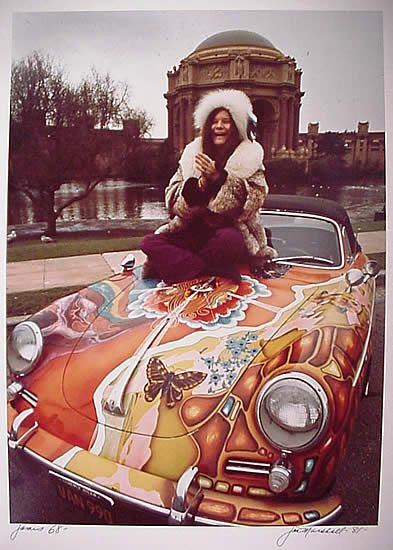 Janis Joplin and her psychedelic, customised Porsche 356c Cabriolet.  1968.