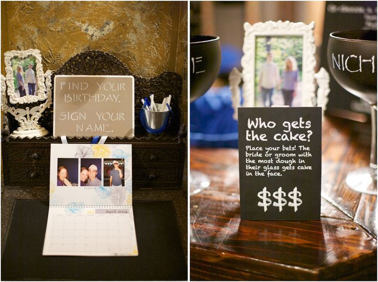 unique guestbook ideas :: guests sign their names on a personalized calendar :: fun wedding reception ideas