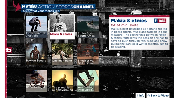Etnies Action sports channel, app voor Samsung smart tv #iptv #smarttv
