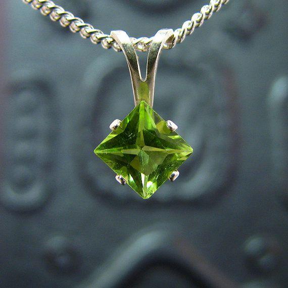 Peridot necklace sterling silver peridot by MismatchedEarrings