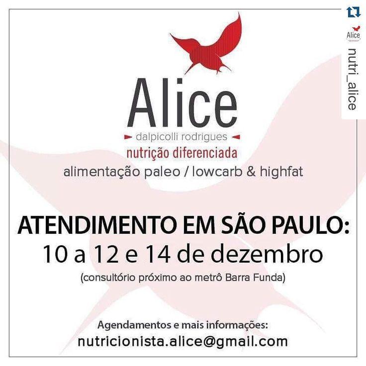 #Repost @nutri_alice with @repostapp.  Estarei em SP daqui uma semana mantendo o compromisso de atender e acompanhar os paulistanos em sua jornada de mudança de hábitos alimentares. Interessados mandem emails para nutricionista.alice@gmail.com pois muitos horários já foram reservados.  #NutricaoDiferenciada #TeamNutriAlice #NutriAlice #SP #SãoPaulo #Paleo #PaleoDiet #DietaPaleo #ComaPaleo #EuSouPaleo #LetBrazilGoPaleo #IPALEO #LowCarb #LCHF #SouNutriLowCarb #TeamDrSouto #SemMedoDaGordura…