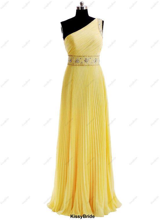 Long prom dress  yellow dress / long evening by KissyBride, $189.00