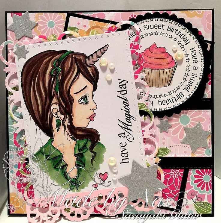 DT Card for Oddball Art Stamps. Sasayaki Glitter