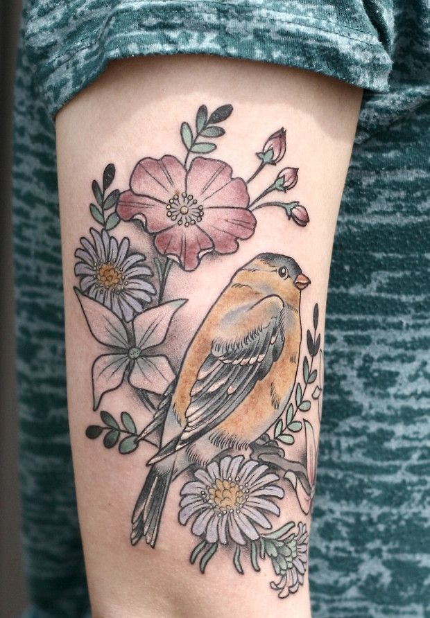 Goldfinch and Flowers by Kirsten Holliday at Wonderland Tattoo, Portland, Or