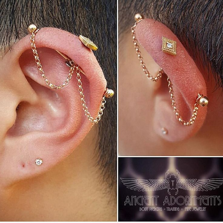 The coolest industrial  piercing project ever, made complete with gold chain #piercing #earpiercing #helix #industrial #gold #goldchain