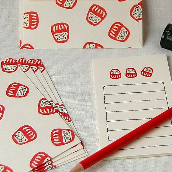 Set Small Size  letter writing set, note writing set, Darumasan Buste e Carta da lettere,Daruma Dolls