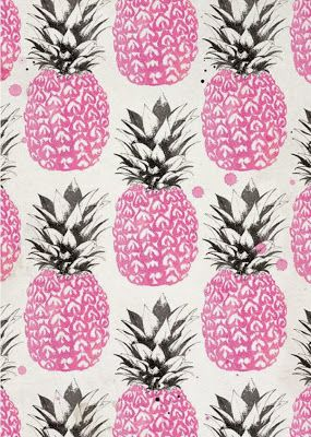 extend pink raspberry lino print using biro- pineapple artwork