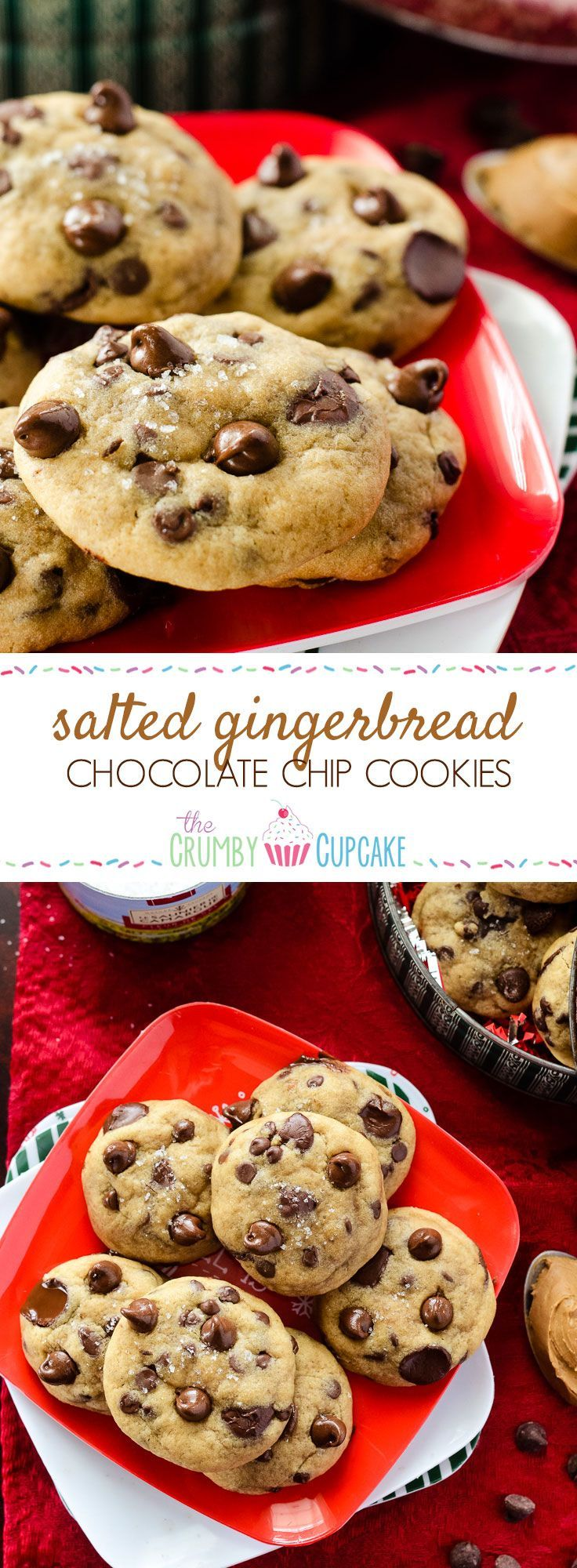 Salted Gingerbread Chocolate Chip Cookies | Tons of chocolate chips and a touch of sea salt, nestled in the easiest gingerbread-flavored cookie dough on earth - no sticky molasses or grated ginger required!