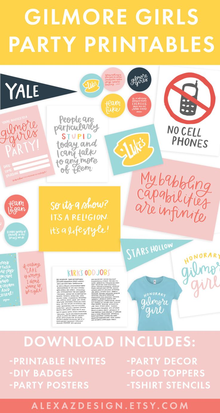 Gilmore Girls Party Printable Pack! | Gilmore Girls Quotes by alexazdesign on Etsy https://www.etsy.com/listing/474500378/gilmore-girls-party-printable-pack