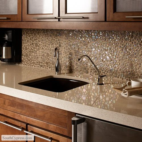Glass Pebbles Wheat Featured On The Pebble Glass Page From South Cypress Kitchen Backsplash