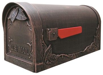 Floral Curbside Mailbox, Copper traditional-mailboxes