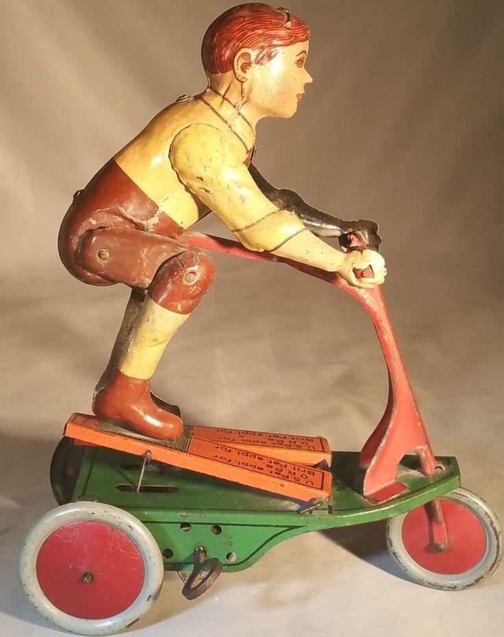 """Prewar Fischer Tin Clockwork """"Oh Boy"""" Scooter - German Windup Toy"""