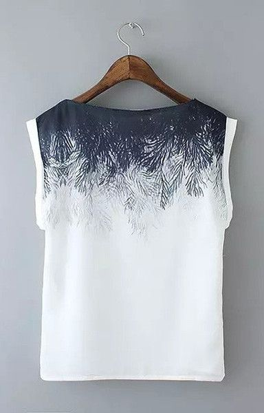 WT82 New Fashion Ladies' elegant Tree leaf print Basic Chiffon Blouse vintage O neck sleeveless shirts casual loose brand tops