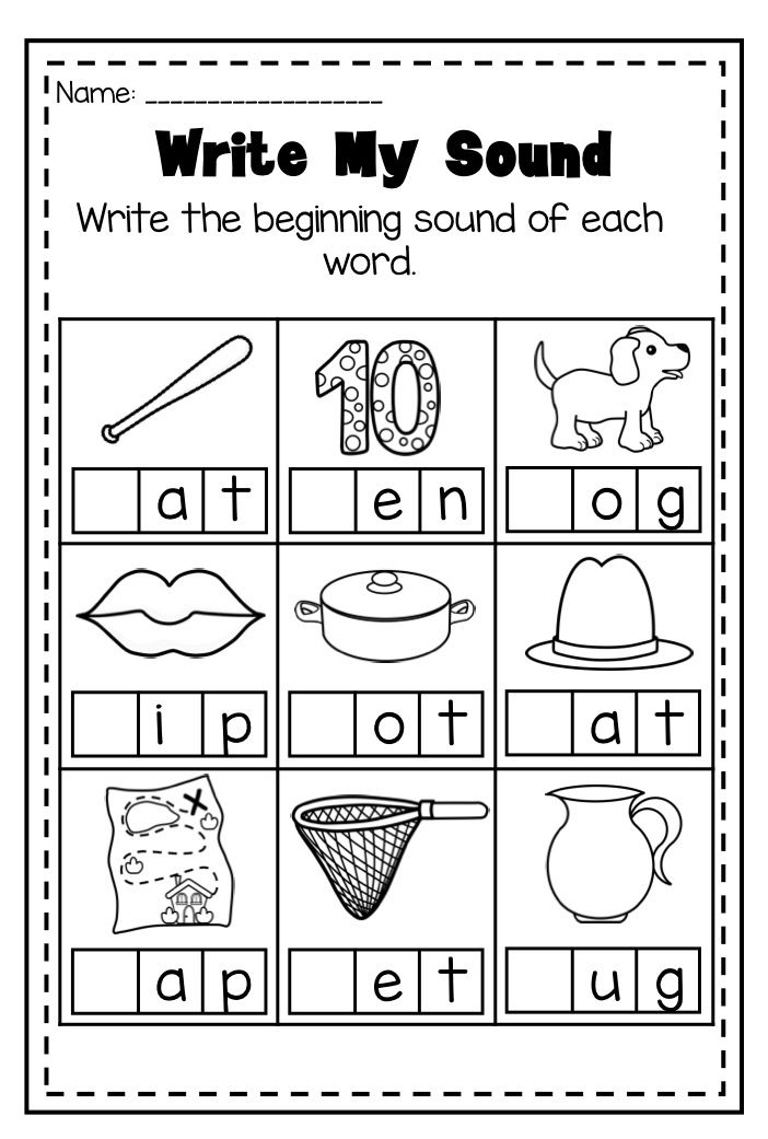 Image result for beginning middle end sounds kindergarten worksheets