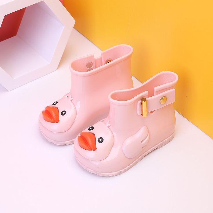 2017 New Mini Melissa Ducks Rain Boots Super Cute Boots Children Rain Boots Boys Baby Girls Kids Rain Boots Water Shoes 13-18cm #Affiliate