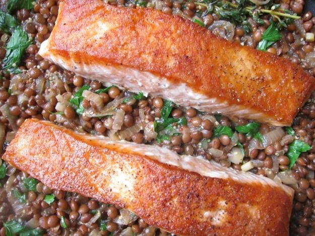One-Pot Crispy Salmon with Mustardy Lentils