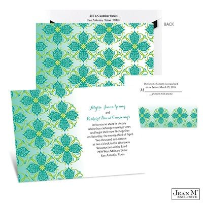captivate your guests with the bright and exotic emerald mosaic wedding invitation from michaels