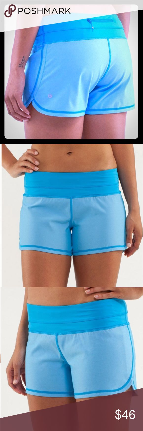 Lululemon Groovy Run Shorts: Beach Blanket Blue EUC Lululemon Groovy Run Shorts In Beach Blanket Blue. Very minor pilling in the inner thigh area as seen in the last photo. First three photos are stock photos to demonstrate fit and features. lululemon athletica Shorts