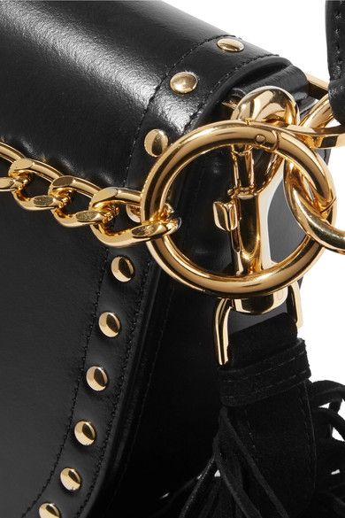 Sacai - Horseshoe Suede-trimmed Studded Leather Shoulder Bag - Black - one size
