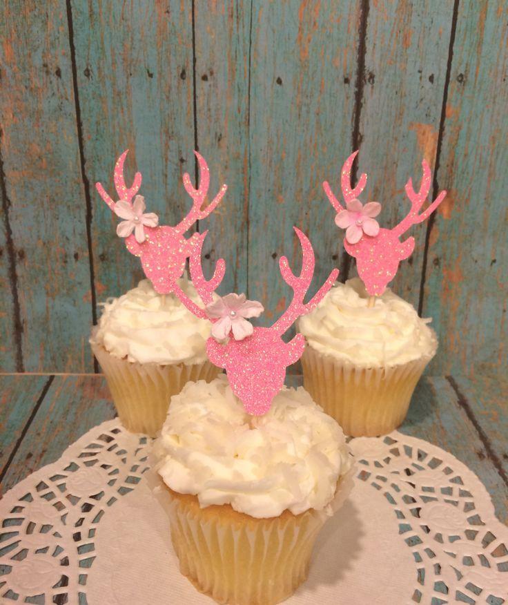 Baby Shower Girl Decorations,Deer Cupcake Toppers,Doe Cupcake Toppers, Pink  Doe,Glitter Baby Shower, 12 CT