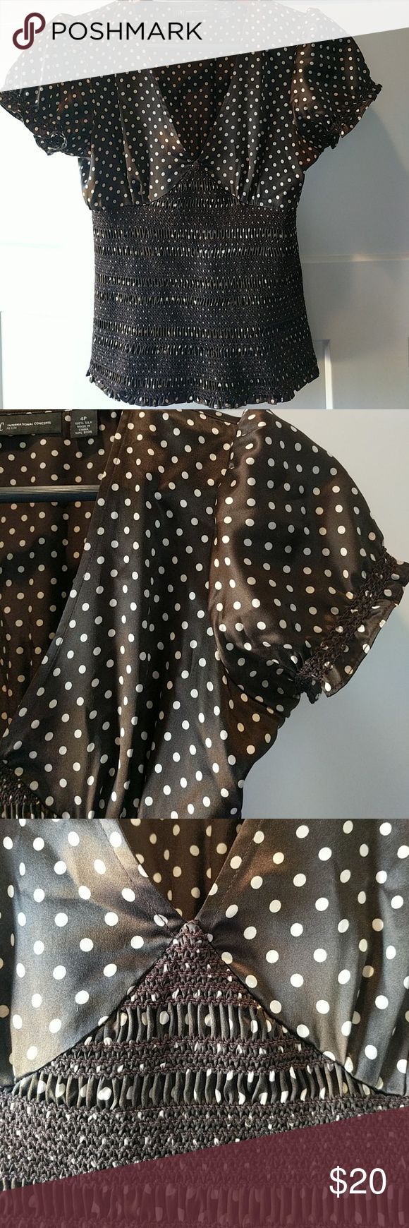 """INC 100% silk classic style halter 4P 100% silk chocolate brown, and cream color polka dots.  Excellent condition.  Dry clean only.  20.5"""" top to bottom; 15"""" arm pit to arm pit. INC International Concepts Tops Camisoles"""