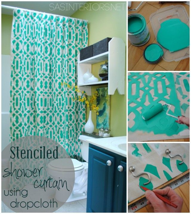 DIY: Stenciled Shower Curtain Using Drop Cloth Material   Super Simple U0026  Inexpensive To Create!