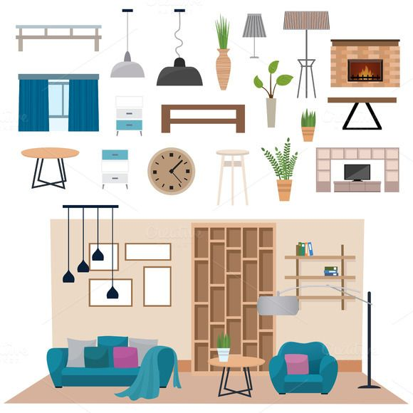 Pin By Divya Dubey On Drawing Living Room: Living Room Interior Vector @creativework247