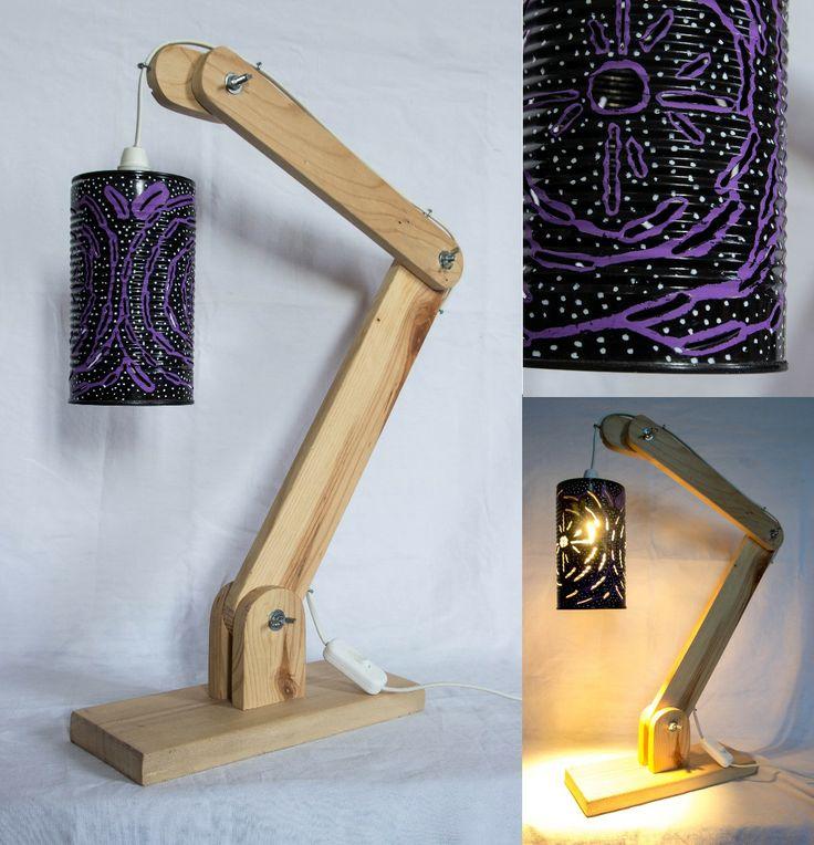 lampe articul e en bois de palette et abat jour boite de conserve mes cr ations wooden lamp. Black Bedroom Furniture Sets. Home Design Ideas