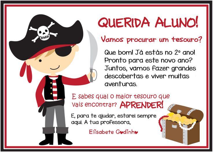 Cantinho do Primeiro Ciclo: Cartão de boas-vindas - Tema dos piratas