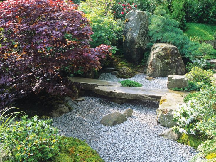The Careful Landscaping In A Japanese Garden Invites One To Stop And  Reflect. A Large Flat Stone Serves As A Bench Above A Gravel Groundcover. Part 64