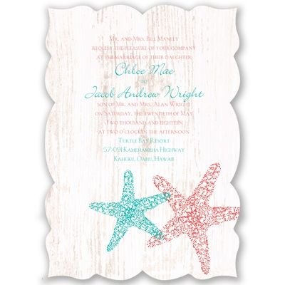 "Starfish Wedding Invitation - Distressed, Antique, Sea Horses, Sand at Invitations By David's Bridal Invitation Size: 5 1/2"" x 7 3/4"""