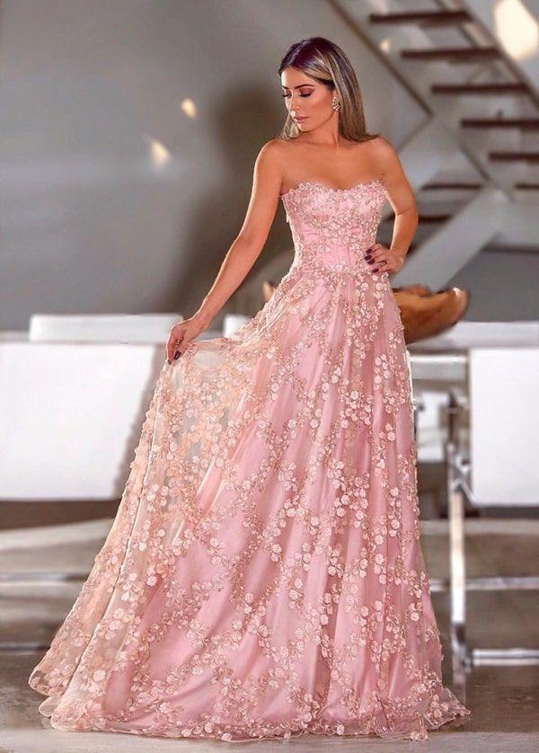 Vestido rosa para madrinha de casamento: 50 vestidos de festa longos em  vários tons de rosa nos modelos que estão em alta na moda festa p… | Strapless dress formal, Dresses, Party dress