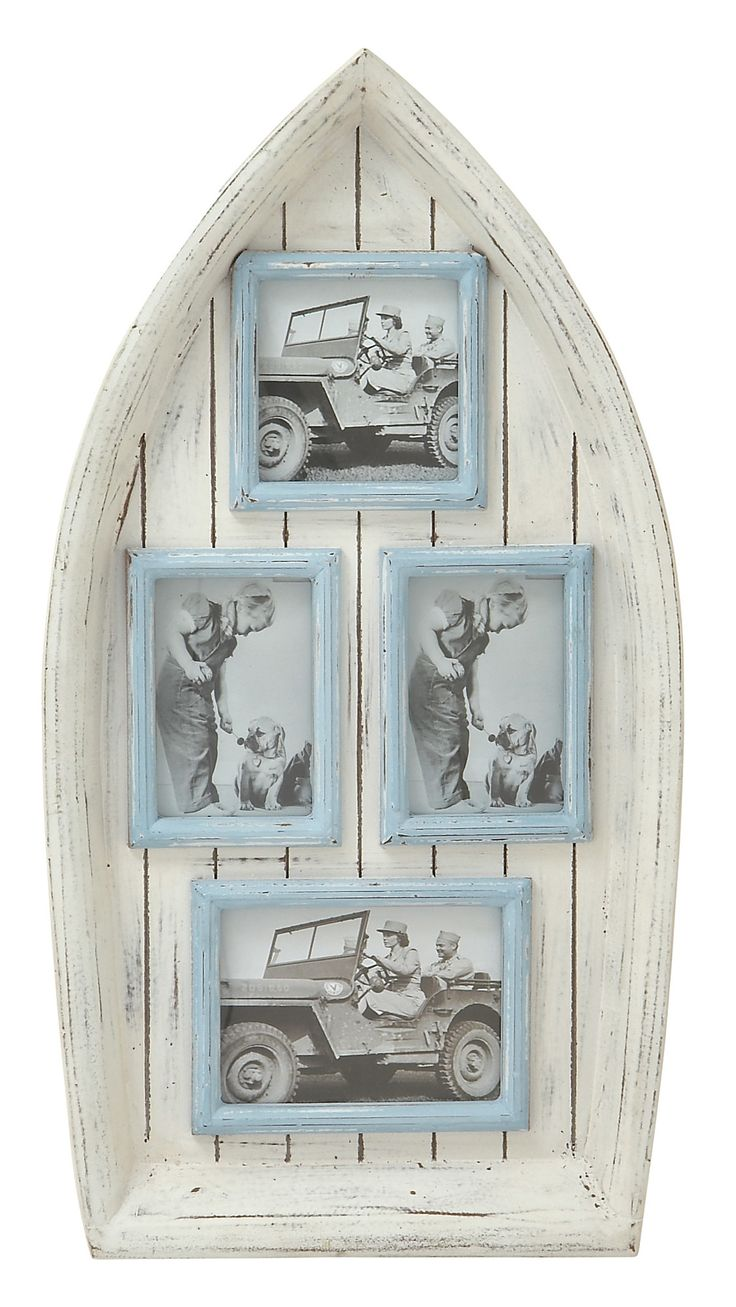 """Features:  Distressed: -Yes.  Color: -White/Blue.  Theme: -Standard.  Picture Capacity: -4.  Picture Size: -4"""" x 6"""".  Style: -Traditional.  Hinged: -Yes. Dimensions:  Overall Height - Top to Bottom: -"""