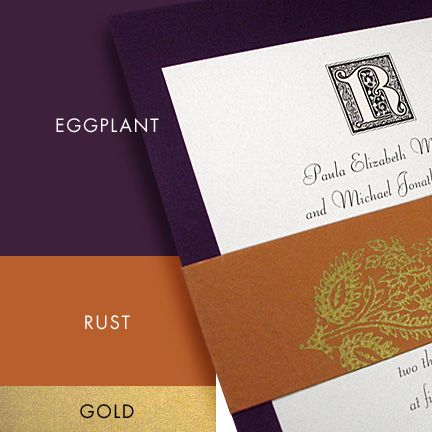 "This is the theme we're going for.  I guess it's a new hotness.  I just love purple and dark orange.  Might go a bit more ""burnt"" with the orange though.  And the gold is going more with the eggplant. :)"