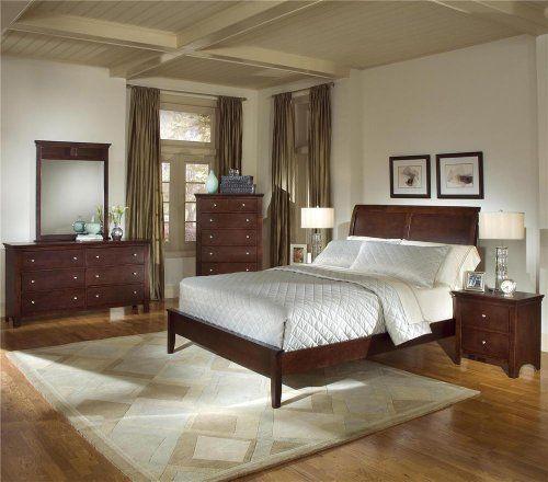 NEW 5pc Sleigh Bedroom Set , Queen Bed dresser mirror 2 Night Stands: #bedroom - #beds: Sleigh Beds, Bedrooms Sets, Bedroom Sets, Cherries Finish, Master Bedrooms, Queen Beds, Sleigh Bedrooms, Night Stands, 5Pc Sleigh