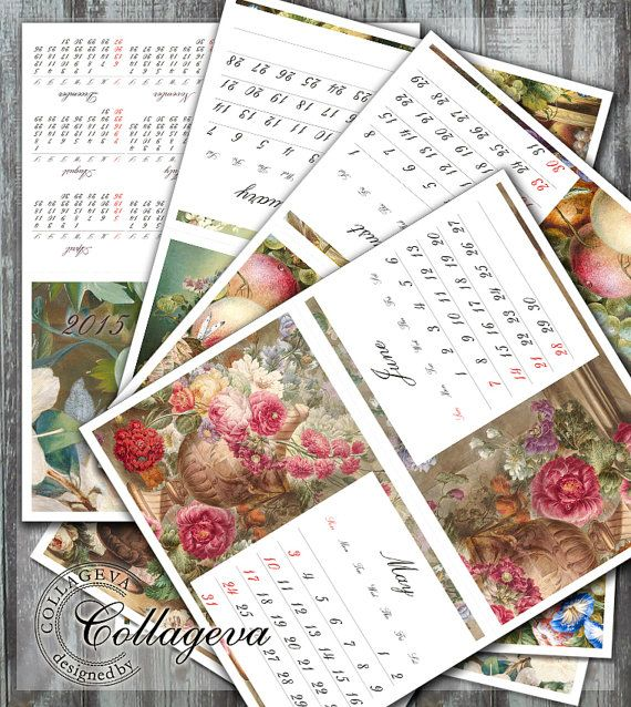 2015 Printable Calendar, Desktop Monthly and Year Calendar, DIY calendar stand, paintings, vintage flowers bouquets, Instant Download by collageva