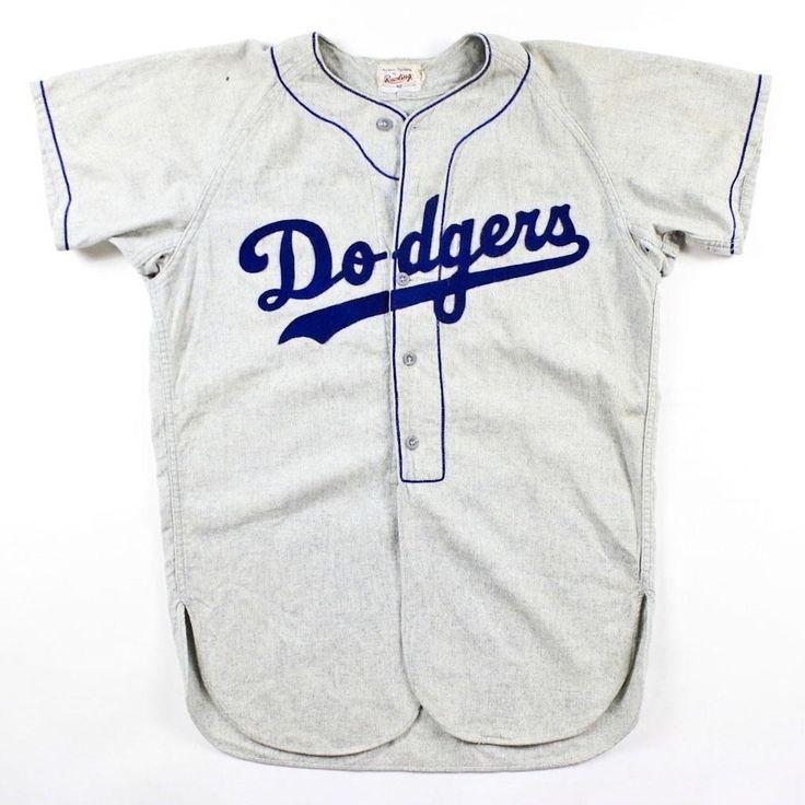 ... Vintage 1950s Brooklyn DODGERS Game Worn Flannel Baseball Jersey 52  Herb Olsen ... a666b06e234